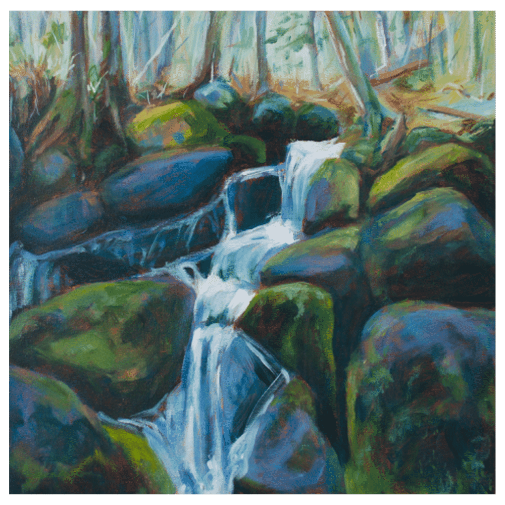 Cascade Black Sturgeon Creek 16 x 16 Painting by Tammy Zebruck
