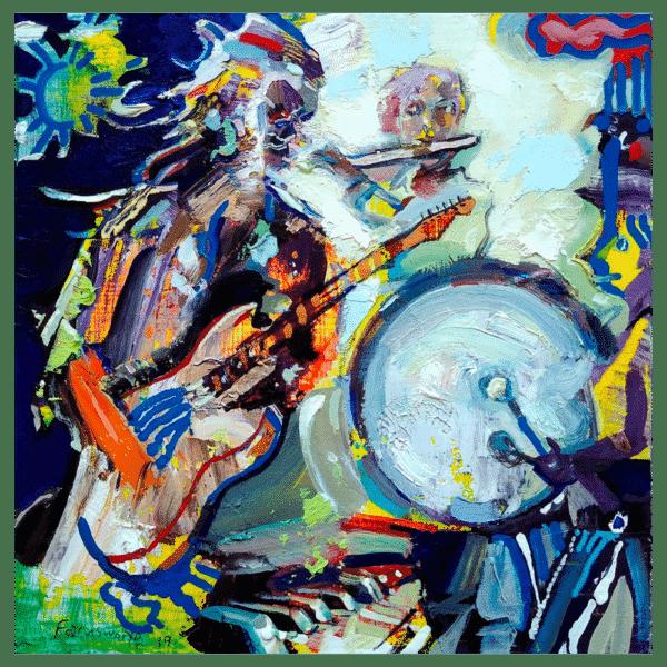 I Hear the Sound of a Drum 8x8 Painting By Geoff Farnsworth