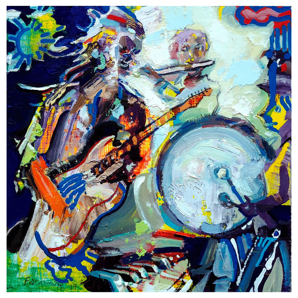 I Hear the Sound of a Drum 8x8 Painting By Geoff Farnsworth