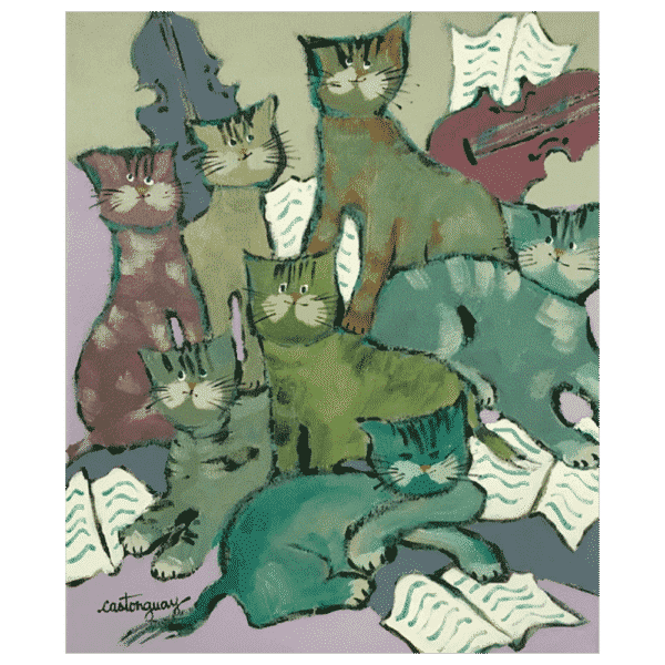 Les Chats Melomones 10 x 12 Painting