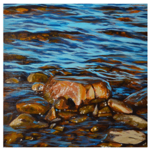 Slowly the Water Smoothes the Stones 20 x 20 Painting by Tammy Zebruck