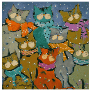 The Eccentric Cats 12 x 12 Painting