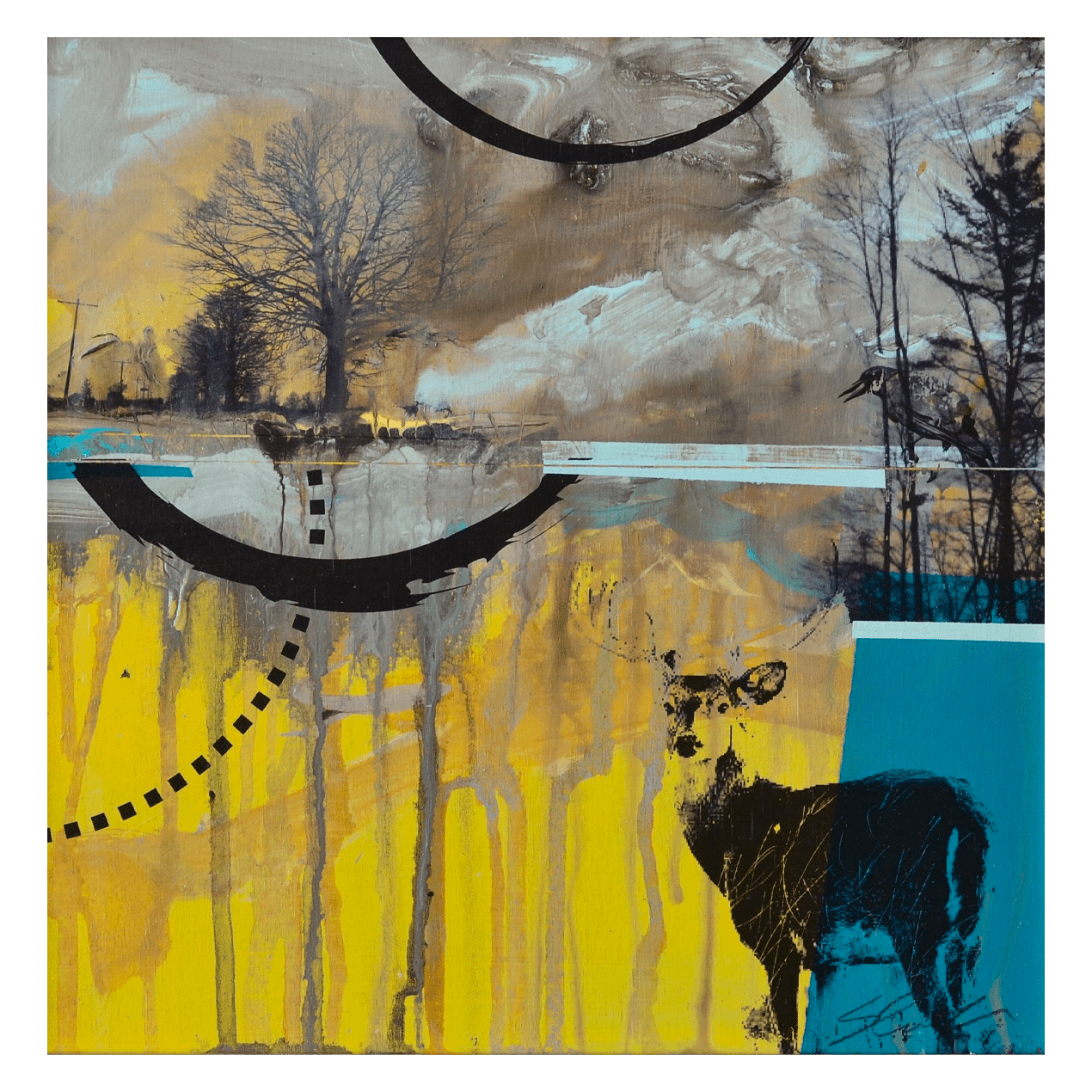 Deer and Crow 12 x 12 Mixed Media on Panel (Abstract, Landscape)