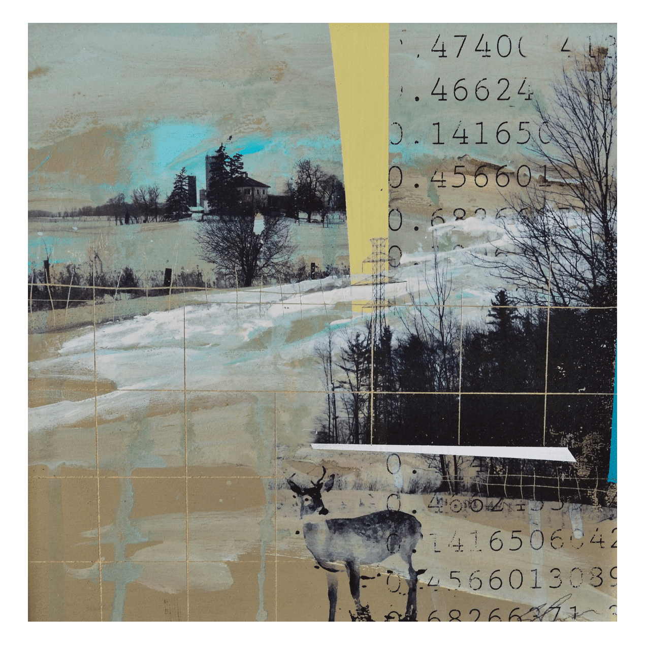 Deer with Landscape and Grid 12 x 12 Mixed Media on Panel (Abstract, Landscape)