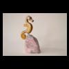 Golden Seahorse 10 x 7 x 5 Pyrophyllite with Quartz on a Granite Specimen Base $800 (Sculpture)