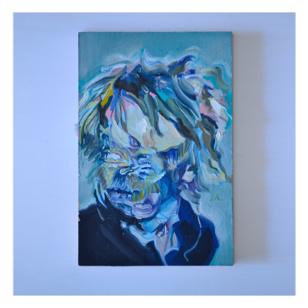 Hair Study of an Abstracted Thom Yorke 4 x 6 Oil on Panel $250 (Abstract, Figurative)