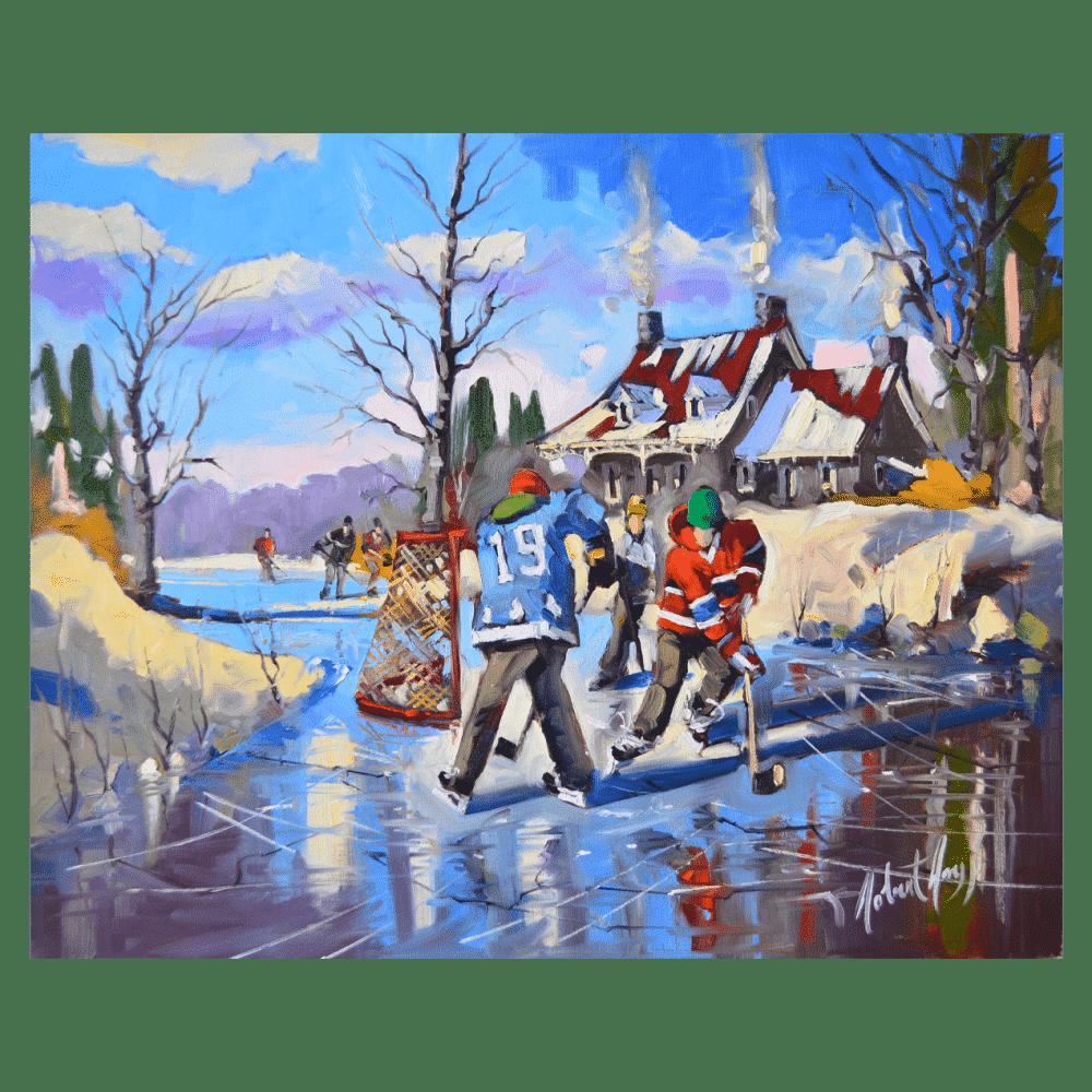 Les Couleurs de L'Hiver 30 x 24 by Robert Roy
