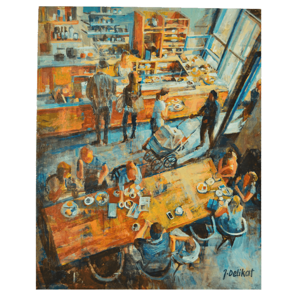 Lunchtime 20 x 24 Painting by Jan Delikat