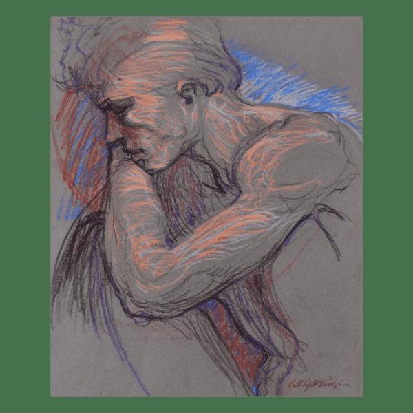 Ruth Tye McKenzie Peaceful Man 31 x 36 $1195 Framed (Figurative, Art on Paper)