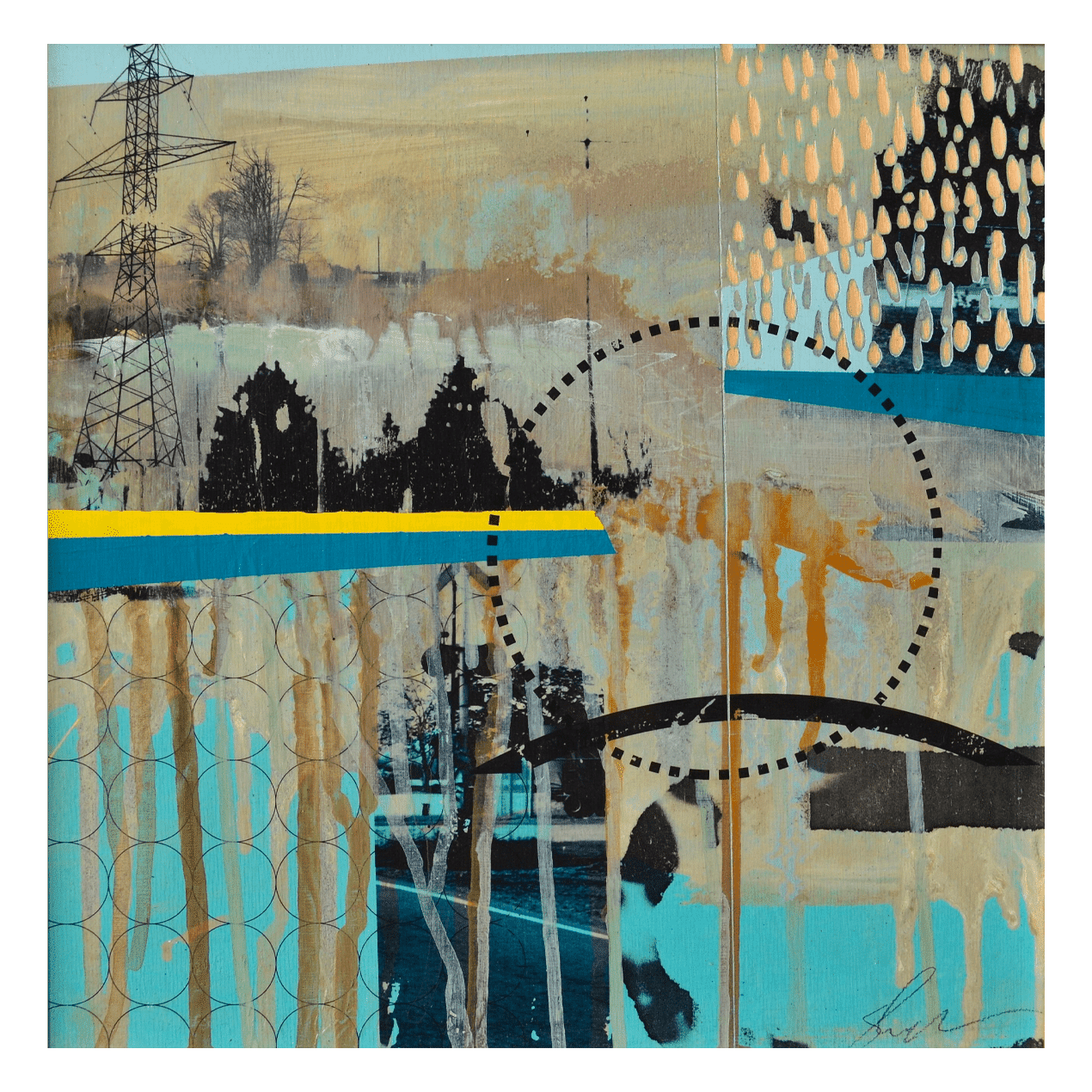 Power Lines 12 x 12 Mixed Media on Panel (Abstract)