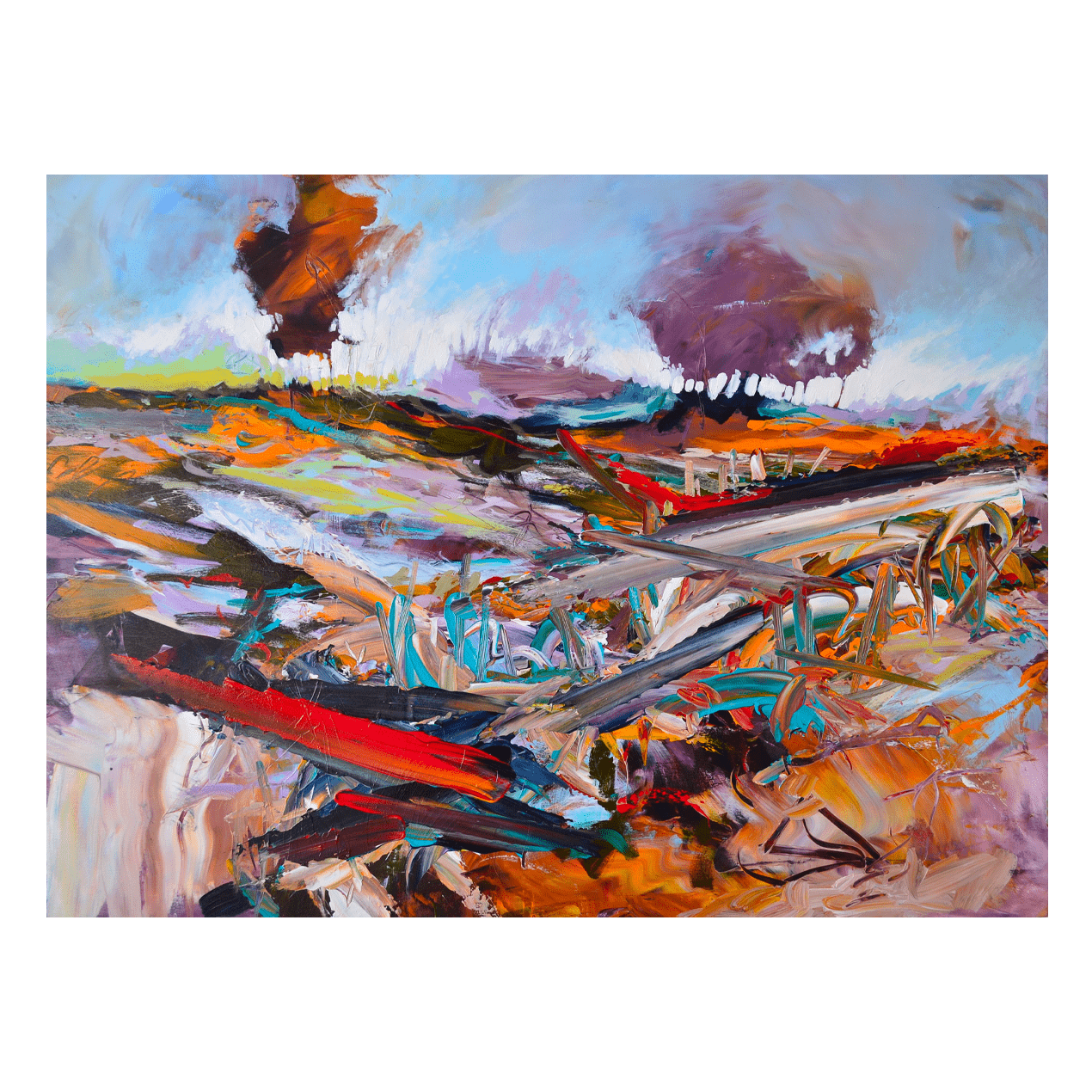 Spring Runoff, Perth County 48 x 36 Acrylic on Panel $2570 + Framing (Landscape, Abstract)