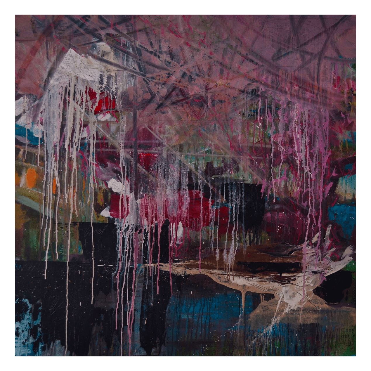 Weeping Sakura & Arbour 48 x 48 Acrylic on Panel $3390 (Abstract)